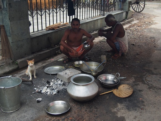 Cooking while living on the street. Street Food in Kolkata