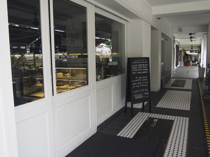 Entrance to Huckleberry Food & Fare, black & white tiles at Huckleberry Kuala Lumpur