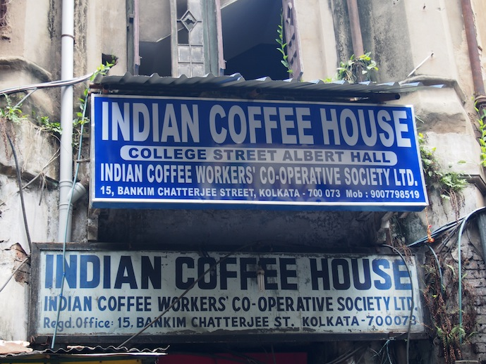 Old sign Indian Coffee House, New Sign Indian Coffee House Kolkata, Searching for Coffee in Kolkata, Tagore, Bose