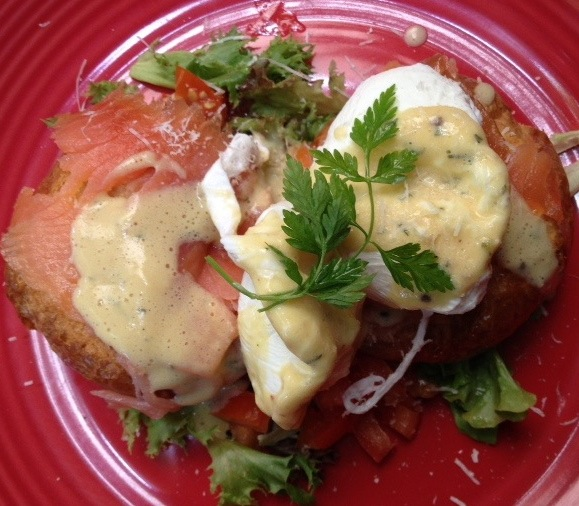 Eggs Benedict with smoked salmon at Ferringhi Coffee Garden