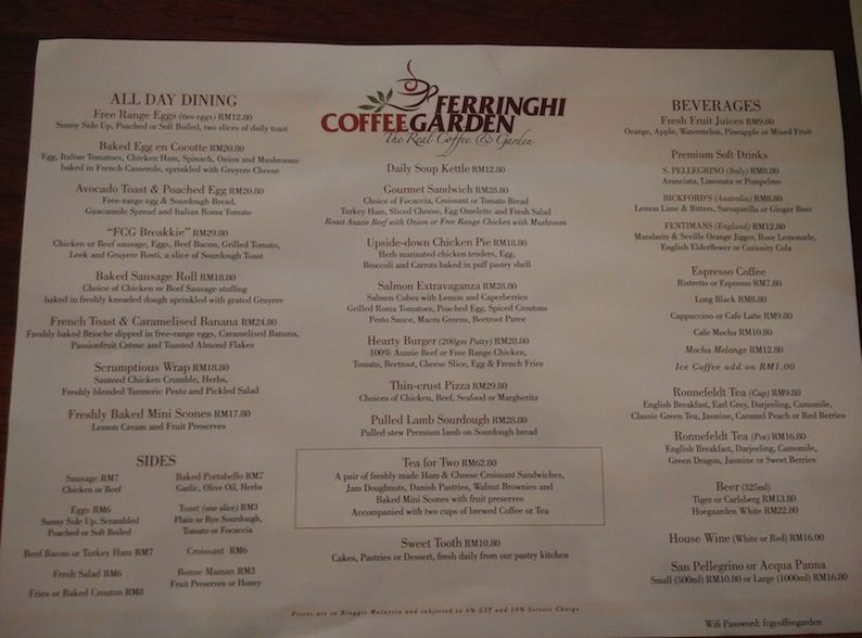 Ferringhi Coffee Garden Menu, All day dining menu Ferringhi Coffee Garden ar