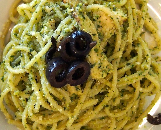 Pesto Pasta with Chicken Olives & Parmesan