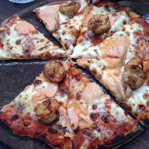 Salmon Pizza Ferringhi Coffee Garden, Batu Ferringhi best pizza, thin base on salmon pizza Ferringhi Coffee Garden Penang