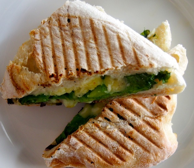 Panini with vegetables, pesto and cheese